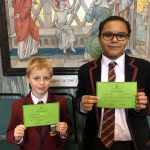 Students show their green commendations
