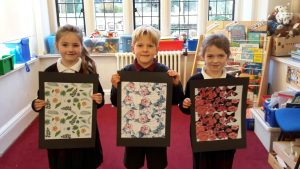 Children with their poster art ready for display